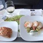 Spargel Pfifferling Salat in der Lufthansa A380 Business Class